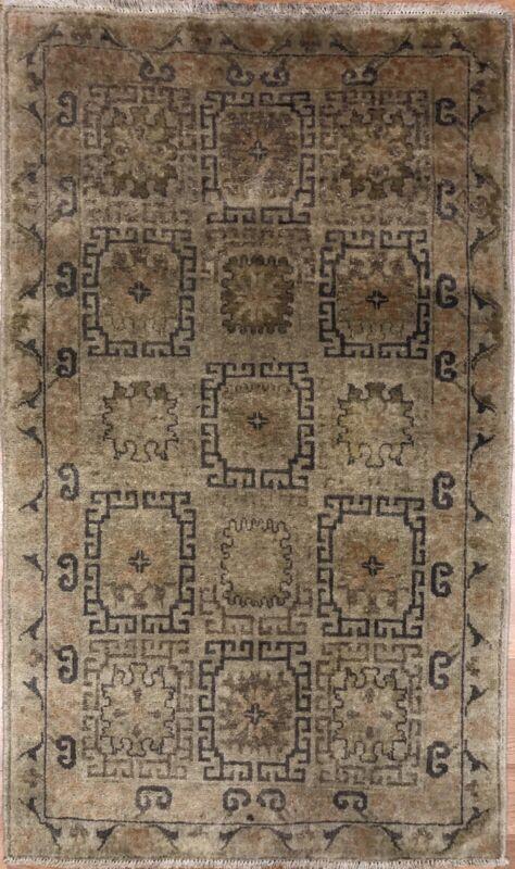 Intricate Indian - Vintage Khotan Design - Samarkand East Turkestan Rug 3 X 5 Ft