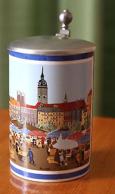 Bierkrug mit Zinndeckel  Petra Moll Motiv: Viktualienmarkt am alten Peter