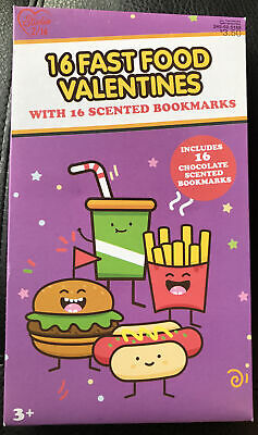 16ct Fast Food Valentines with Scented Bookmarks