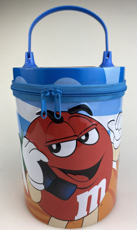 M&M Red Tin Can With Zipper Lid 2003