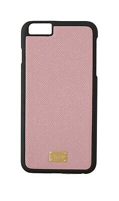 NEW $180 DOLCE & GABBANA Phone Case Pink Dauphine Leather Gold Logo iPhone6 Plus