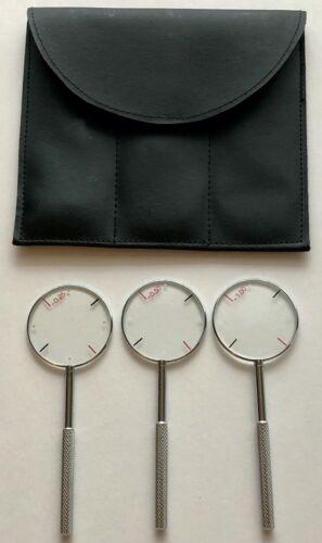 3 Jackson Cross Cylinders w/ Soft-Sided Case - 0.25 / 0.50 / 1.00 - Handheld