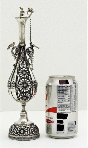 Islamic Style Solid Silver Perfume Bottle with Figural Bird & Rabbit & Wood Wick