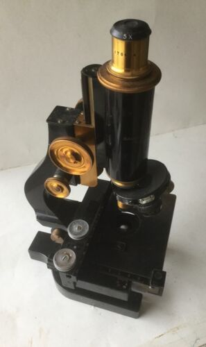 Antique Bausch & Lomb B&L Vintage Microscope w Cabinet