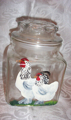 HANDPAINTED ROOSTER / HEN CLEAR GLASS STORAGE CANISTER - 6.5 X  4.5 x 4.5 inches