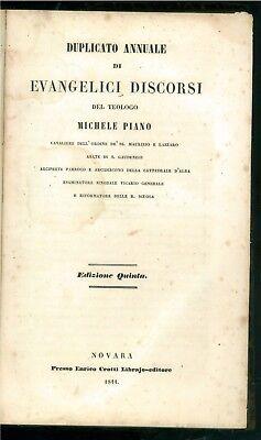 PIANO MICHELE DUPLICATO ANNUALE DI EVANGELICI DISCORSI CROTTI 1844 TEOLOGIA ALBA