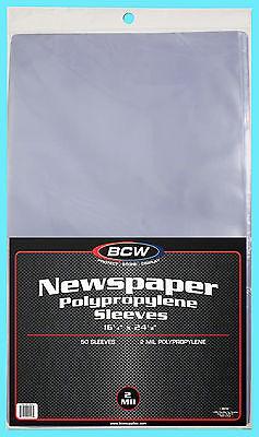 "50 BCW 16X24 NEWSPAPER STORAGE SLEEVES 2 MIL Art Photo Print 16-1/4"" x 24-1/8"""