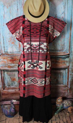 Huipil Kaftan Dress Hand Woven 2 headed Bird Tuxtepec Oaxaca Mexico Usila Hippie