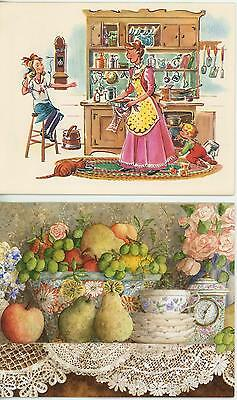 1 Lang Teacup Card 1 Vintage Cook Pork Chops Potato Salad Recipe Card Art Print