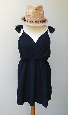 JOVONNA LONDON Silk Blend Skater Dress - Black - Frill Shoulders - Medium 10-12