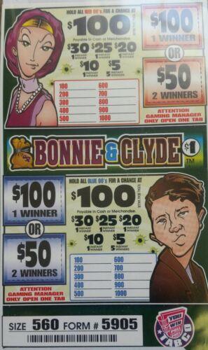 $140 PROFIT 560 TICKET COUNT $1 PULL TAB GAMES RAFFLE/JAR TICKETS BONNIE & CLYDE