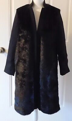 PINKO ITALY FAUX MINK AND WOOL LONG COAT...SZ 40...NWT