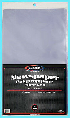"10 BCW 16X24 NEWSPAPER STORAGE SLEEVES 2 MIL Art Photo Print 16-1/4"" x 24-1/8"""