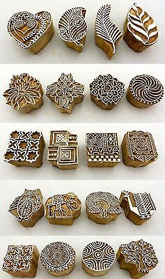Hand Carved Wooden Block Printed Indian Stamps - Wood Printing