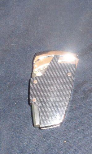 NEW - Black & Silver Fiberglass Butane Lighter