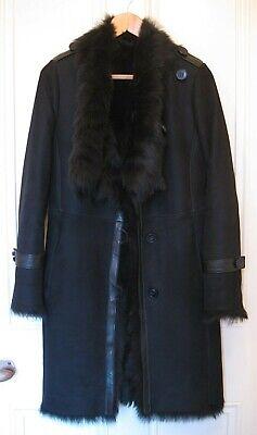 New KARL DONOGHUE Navy Blue Shearling, Sheepskin COAT, S, UK 10, US 6, EUR 38