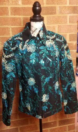 Hobby Horse Limited Edition Sz L Blue Green Equestrian Horse Western Show Shirt