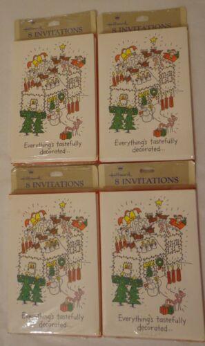 VINTAGE HALLMARK CHRISTMAS HOLIDAY PARTY INVITATIONS INVITES 32 (4 Pkg 8) NOS
