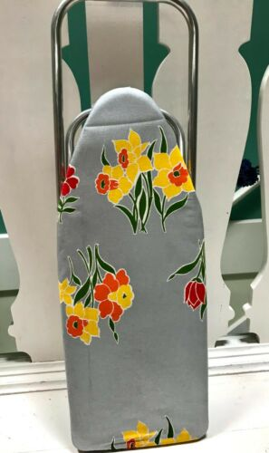 """Vintage IRONEES Tabletop Foldable Ironing Board Daffodils 24"""" USA Made"""