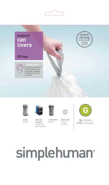 100 (1 Pack x 100) Simplehuman code/size G (30 litres) bin bag liner, CW0237