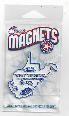 WEST VIRGINIA  WV  THE  MOUNTAIN  STATE OUTLINE MAP MAGNET, in souvenir bag  NEW