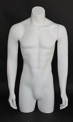 38 In Tall Male Torso Mannequin Torso Arms Free Standing White Colored Mt2-wt