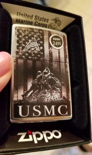 Zippo 49316 US Marine Iwo Jima Flag Street Chrome NEW in box Windproof Lighter F