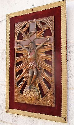 Antique Wall Hanging 18th Century Jesus Christ Crucifix Wood On Velvet Gorgeous