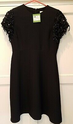NWT Kate Spade black dress w/ sequins on sleeves - size 4
