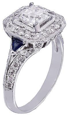 GIA F-VS2 18k White Gold Asscher Cut Diamond Engagement Deco Halo Ring 1.45ctw 7