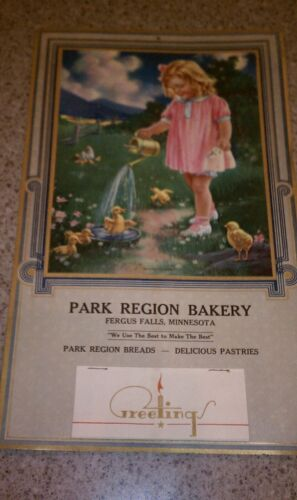 Vintage 1940 Calendar from Park Region Bakery at Fergus Falls Minnesota MN.