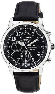Seiko Men's SNDC33 Classic Black Leather Black Chronograph Dial Watch Dial Leather Chronograph Watch