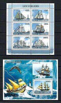 Comoros 2009 Sc#1023-4  Sailing Ships & Lighthouses  MNH MS/SS Set $29.00