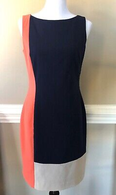 Lauren Ralph Lauren LRL Dress Sleeveless Sheath Fitted Navy Blue Pink Sz 6