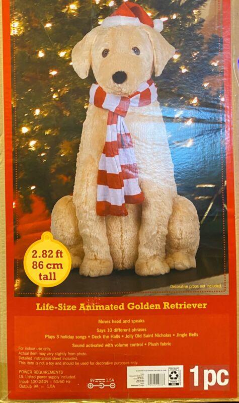 "Holiday Time Life-Size Animated 34"" Golden Retriever Christmas Figurine"