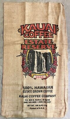 2004 Kauai Coffee Beans 100# Burlap Bag 22x39 Sack Waterfall Kalaheo Hawaii Rare