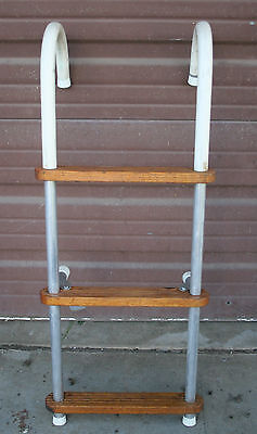 Vintage Aluminum and  Wooden Vintage Marine Nautical Boat Ladder
