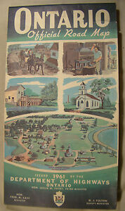 Vintage Ontario 1961 Official Road Map