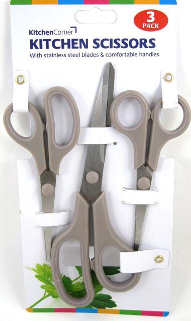 3PCS STAINLESS STEEL SCISSOR SET KITCHEN CRAFT DIY