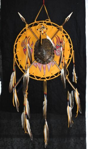 Navajo Shield with Turtle Cross Arrow  Medicine Wheel Buckskin Leather Shield