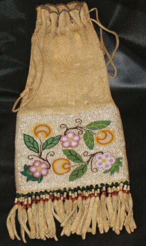 Circa 1900 Cree Beaded Pipe Bag 2 Sided Moose Hide Scalloped Top Fringed Bottom