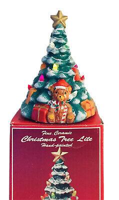 "Ceramic Light Up Christmas Tree Brinn's Lite Up Tree Caldor 9.5"" Hand Painted"