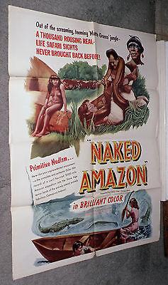 Naked Amazon Original 1955 Exploitation Movie Poster Giant Snake Topless Natives