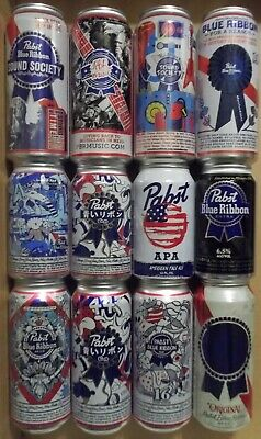 12 Different - 12 & 16 oz. -  Pabst Blue Ribbon Beer Cans - FREE SHIPPING in USA