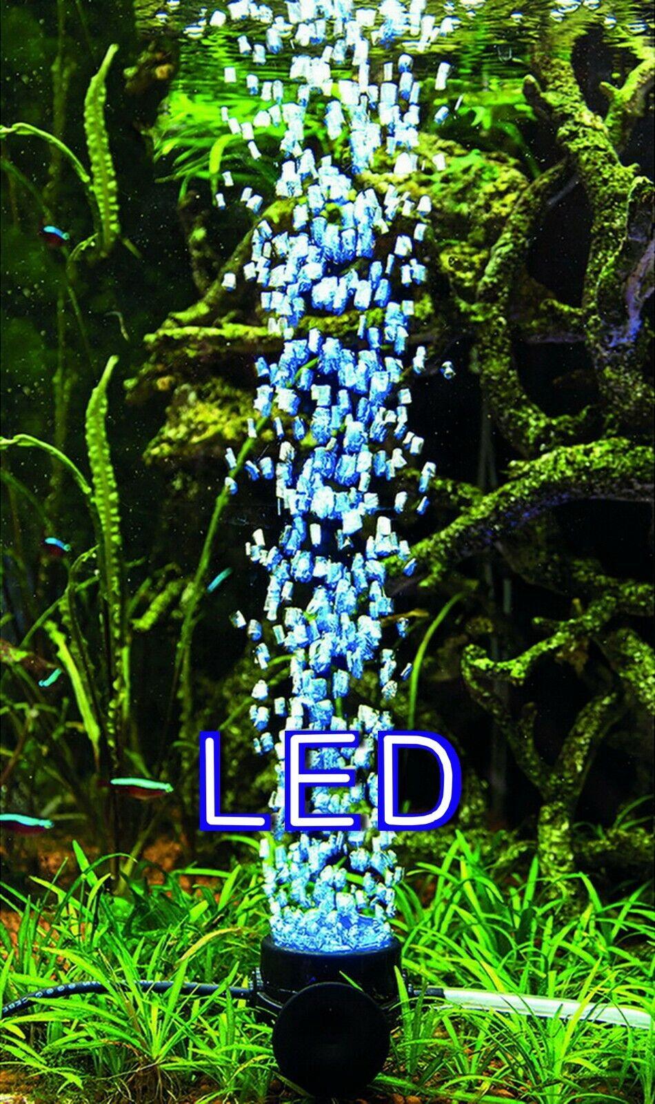 Aquarium Deko 🍀 LED SPRUDLER BLAU 🍀 Dekoration Luftpumpe Luftstein Zubehör