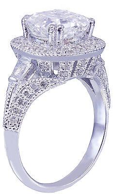 GIA I-VS2 18k White Gold Asscher Cut Diamond Engagement Ring Etoile Deco 2.85ctw 5
