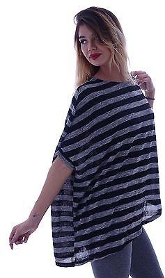 Damen Batwing Shirt Kimono Kaftan Pullover Longshirt Gestreift Fledermaus O11