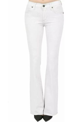 Hybrid & Company Women's Slim White Jeans Boot Cut Stretch