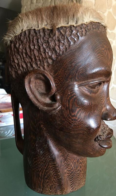 Djembe Anthropomorphic Ebony Makassar Stunning Head D' Mens