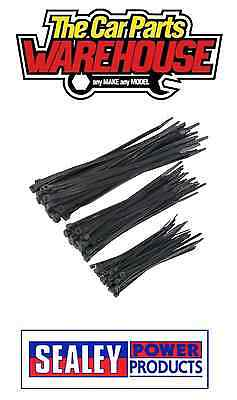 Sealey Cable Tie Assortment Black Pack of 75 100 / 150 / 200mm CT75B